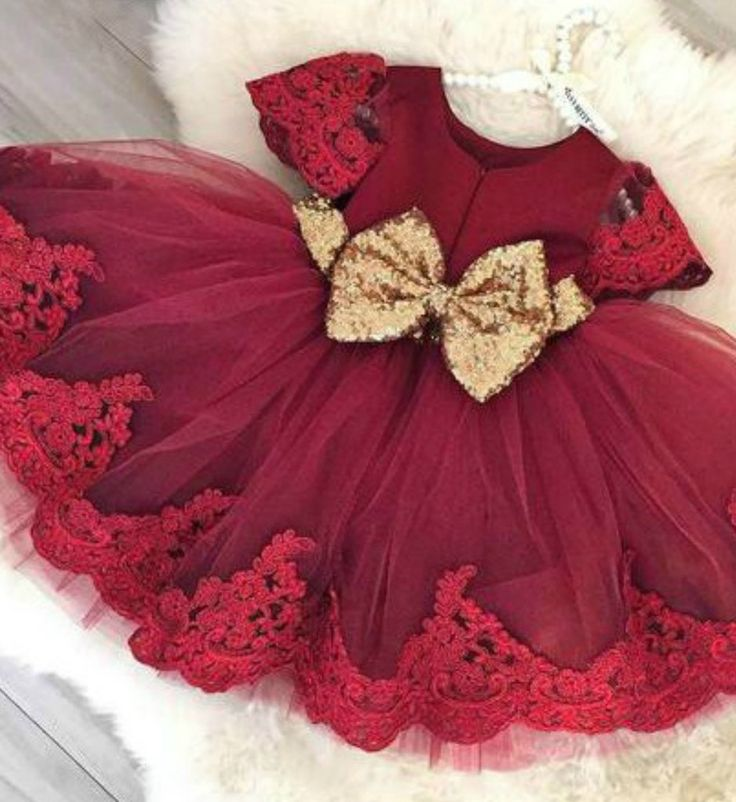 On Sale!! Cheap Sequin Bow Baby Girl T D utu Dress - Burgundy Knee Length Lace Gold Sequin Embroidered Baby Girl Party Dress Material: Tulle mesh, Sequin, Lace, Satin Available from 6 months - 6 years