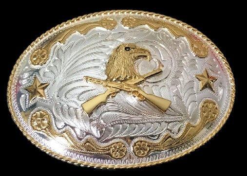 Big Western Cowboy Eagle Head Rifle Golden Belt Buckle #eagle #western #westernbuckle #bigbuckles #coolbuckles #Rifle #eaglebuckles #eaglebeltbuckles