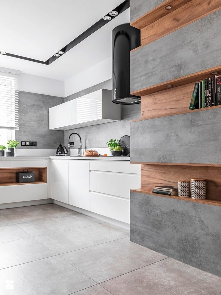Industrial kitchen, with textured wall with timber features, and white cabinetry - Found on Pinterest