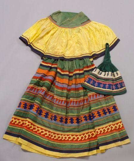 Miccosukee/Seminole patchwork girls dress & handbag.