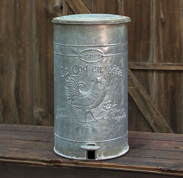 New Primitive Rustic Farmhouse Galvanized ROOSTER WASTE BASKET Trash Can Bucket #Unbranded