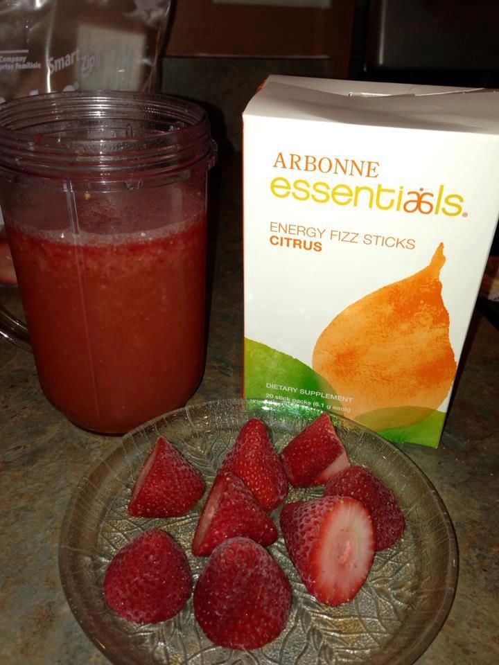 Arbonne Citrus fizzy and frozen strawberries. Oh my goodness! No sugar or artificial sweeteners needed! (can use fresh strawberries also and ice too) A 13 calorie smoothie that will energize you, jump start your metabolism and cut your appetite! Mix in blender. amberburak@myarbonne.com