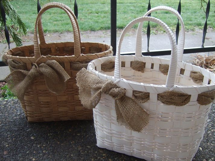 White and Burlap Market Tote- Emily's Baskets