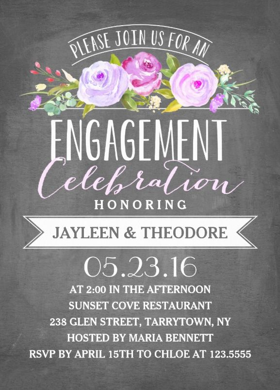 Engagement chalkboard invitation template - Features features lovely roses modern typography on a trendy chalkboard background. Very beautiful! More at http://superdazzle.com
