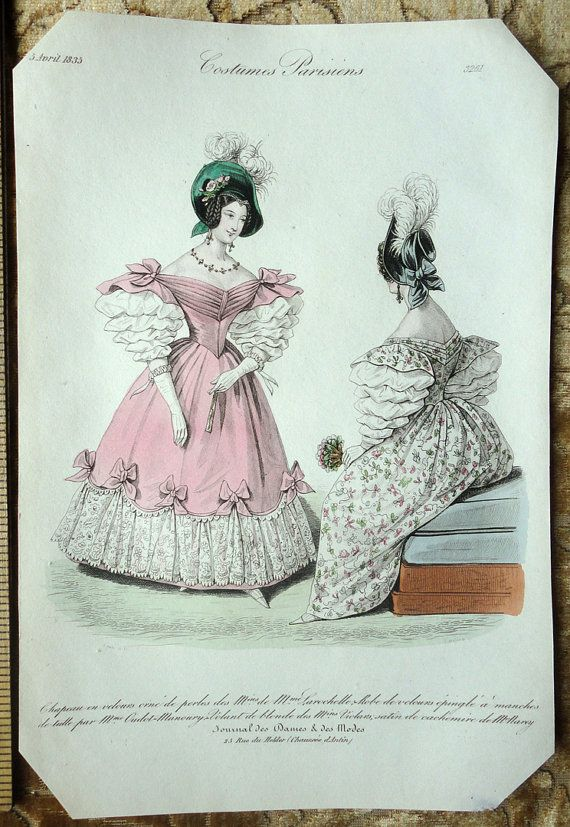 Hand-Colored Victorian Fashion Plate - Beautiful Dresses with Balloon Sleeves…