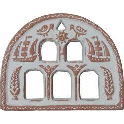 "Fanlight-Window 35x27 (Yperthyro) ""way of life"" patina, handmade by Tinos-Ceramics"
