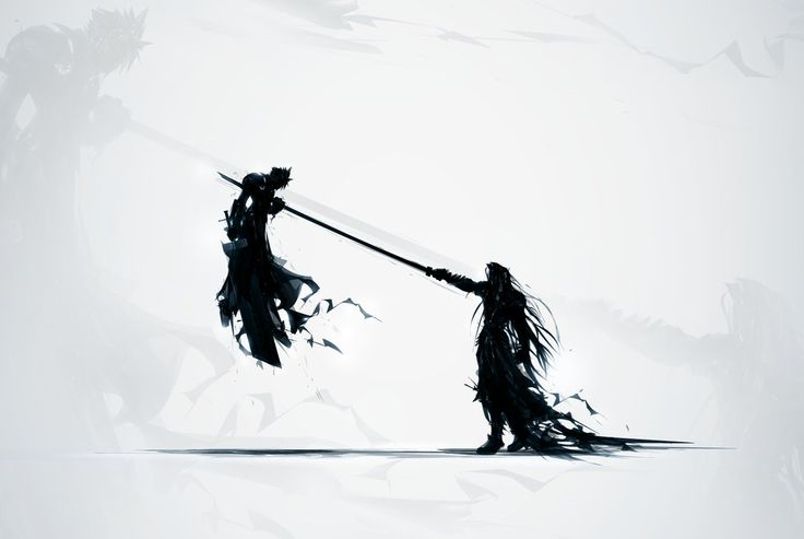 Final Fantasy Seven by ChasingArtwork on Deviantart.com Sephiroth impaling Cloud.