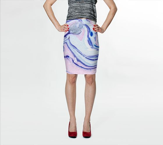 "Fitted Skirt ""Pink Marble Abstract Pattern - Pencil Skirt"" by Jenny Mhairi"