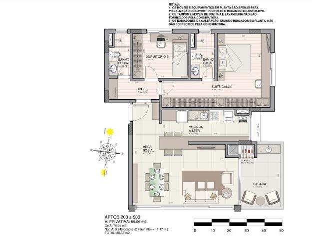 Planta (apartamentos 203 a 903)