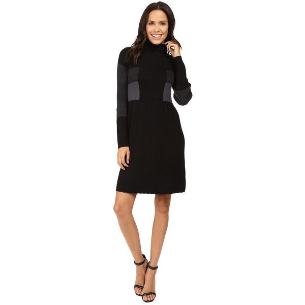 Adrianna Papell Turtleneck Long Sleeve Color Block Pleat Dress (Black... ($83) ❤ liked on Polyvore featuring dresses, long sleeve cotton dress, fit and flare dress, long sleeve fit and flare dress, long sleeve turtleneck dress and long sleeve color block dress