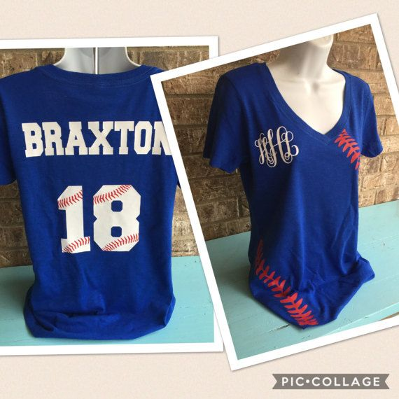 Baseball Laces T-Shirt shortsleeve with monogram by MamaGlitter