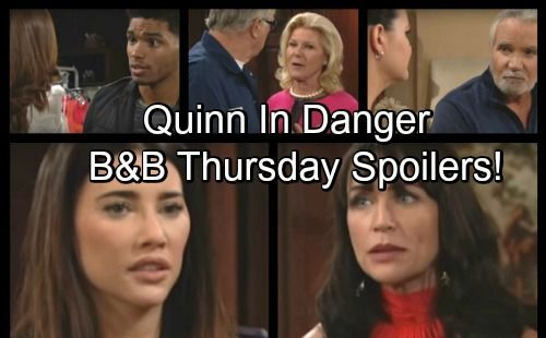 The Bold and the Beautiful (B&B) spoilers for Thursday, November 10, tease that Quinn (Rena Sofer) will get on Pam's (Alley Mills) last nerve