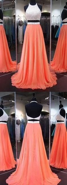 Two Piece Long Prom Dress With Beading ,Popular Wedding Party Dress,Cocktail Dress,Fashion Evening Dresses