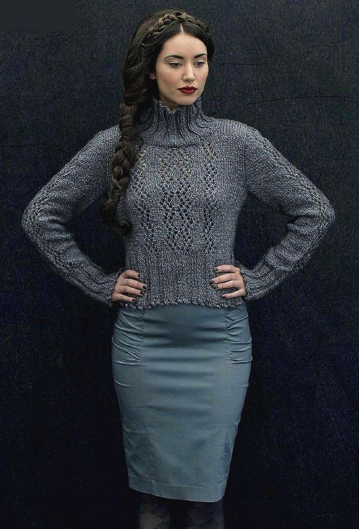 молодежные меланжевые свитера теплые вязаные спицами схемы
