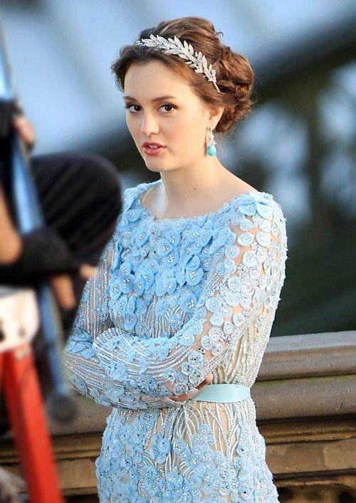 elie saab bridal blair waldrof dress | fashion dress blue Gossip Girl celeb blair waldorf turquoise Elie Saab ...