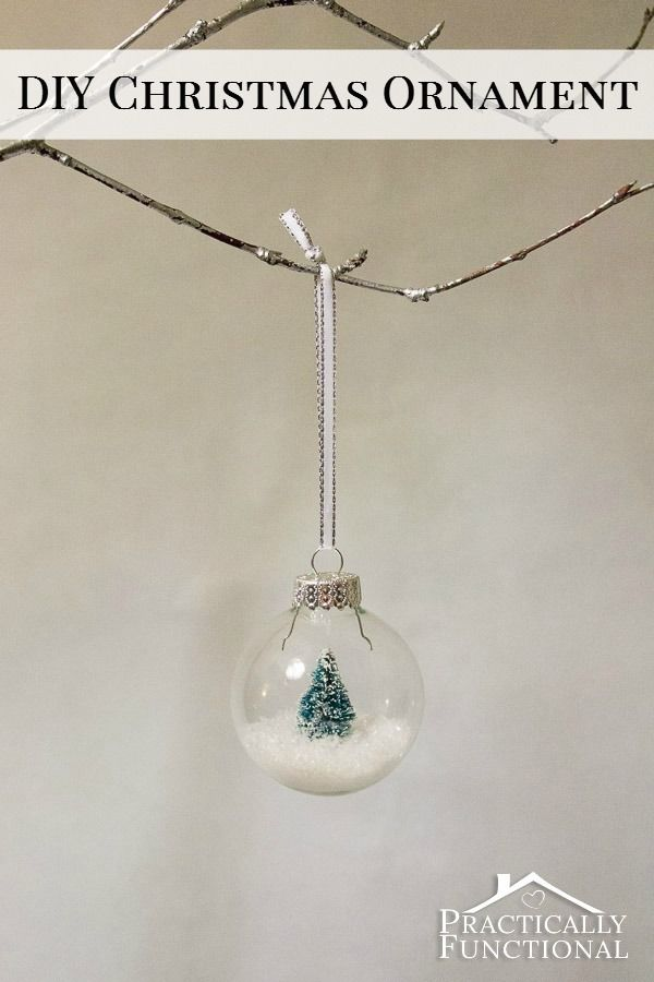 Make your own miniature snow globe scene in a glass ball Christmas ornament!