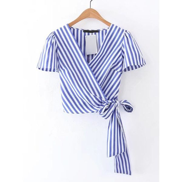 Surplice Front Knot Detail Top ❤ liked on Polyvore featuring tops, shirts, blusas, crossover front top, knot top, shirt top, cross front shirt and knotted shirt