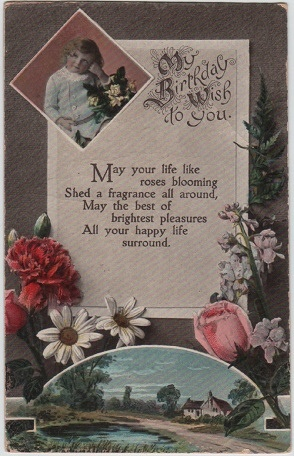 My Birthday Wish to You (Alphalsa vintage postcard, c.1925)