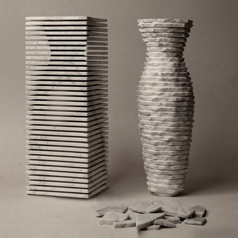 The final shape of this marble vase by Italian designers Paolo Ulian and Moreno Ratti was revealed by smashing off edges with a hammer.