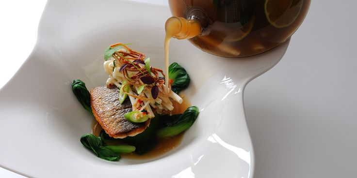 Sea bream is served with a fragrant galangal and ginger broth in this sublime Thai-inspired bream recipe from award winning chef Alan Murchison