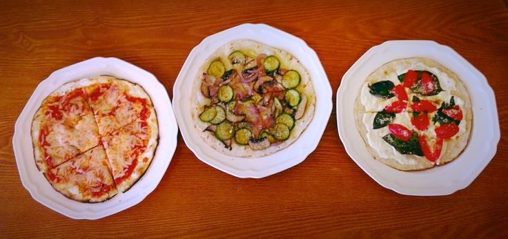My healthy tortilla pizzas. Cheese and sauce pie, zucchini and red onion pie and fresh basil , tomato and ricotta pie.