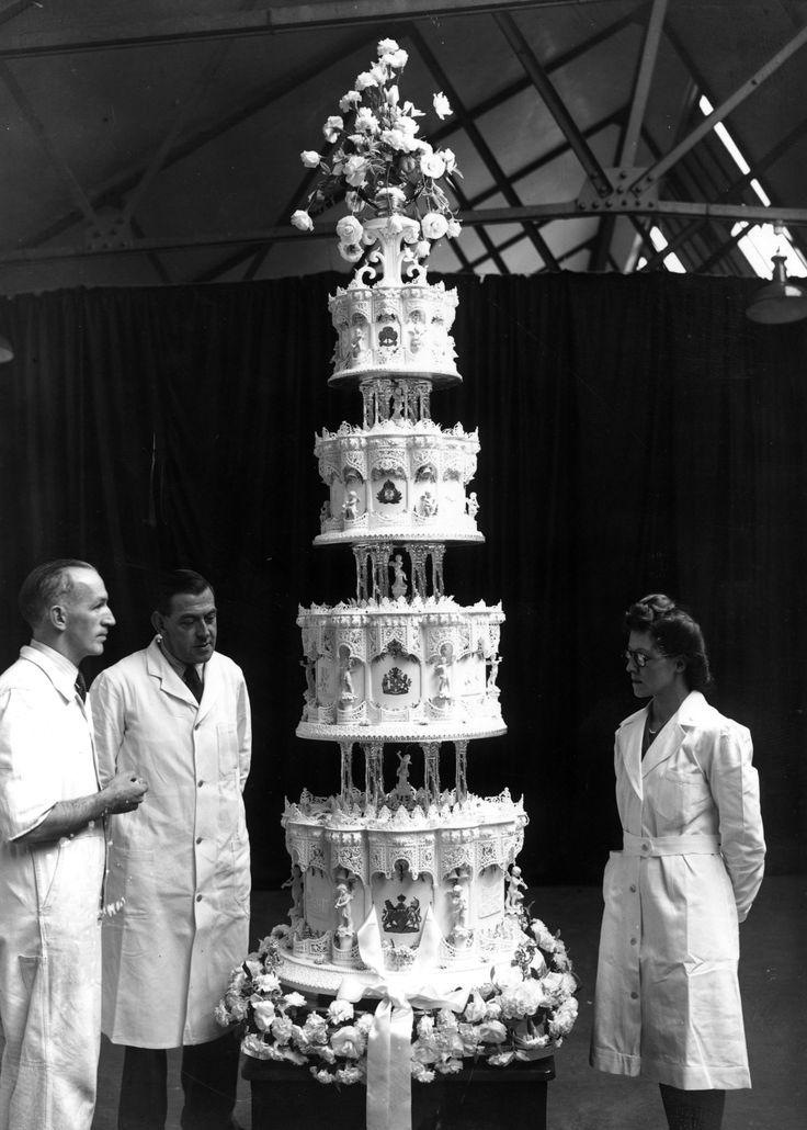The wedding was the first major event to grace London since the end of the war. The King insisted on a quiet wedding as to not offend the British people, and the Princess even saved up ration card to purchase a wedding gown. Only 150 guests attended the wedding celebration, a luncheon at Buckingham Palace, which featured a towering tiered wedding cake.