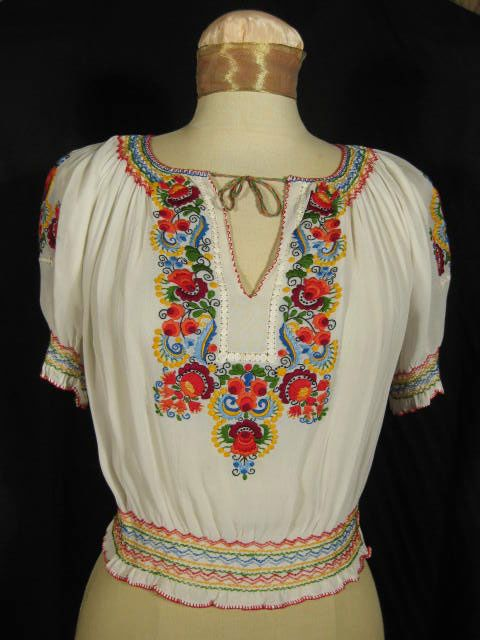 Vintage 1940s Hungarian Embroidered Peasant Blouse at Robin Clayton Vintage