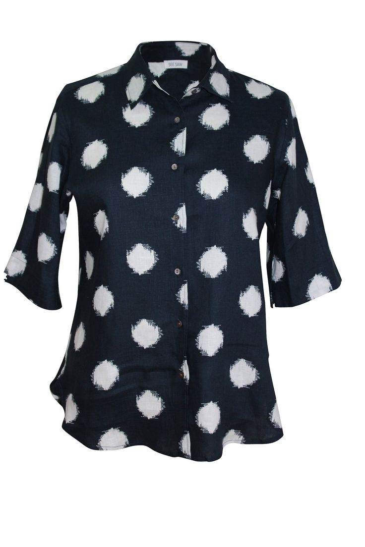 See Saw - Navy Ikat Spot Collared Shirt - Style No: Sw3292