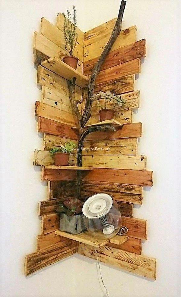 Fancy Wooden Pallets Corner Shelf Ideas – #Corner …