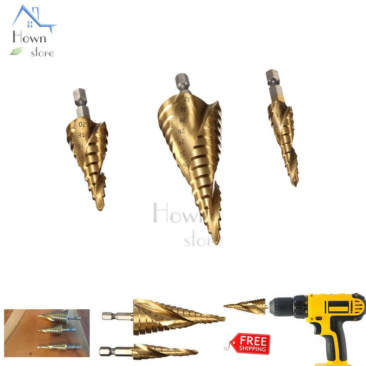 HSS Impact Ready Cone 2 Flute Spiral Step Drill Bit Set 3p #Unbranded