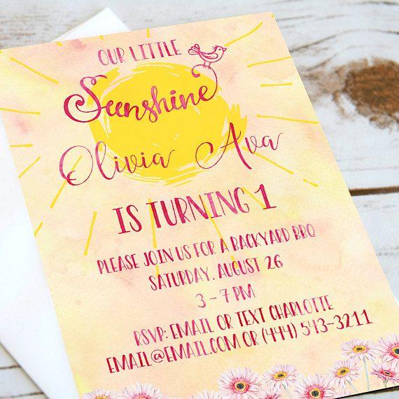 Girls Birthday Party Invitation  Ray of Sunshine  Invitation