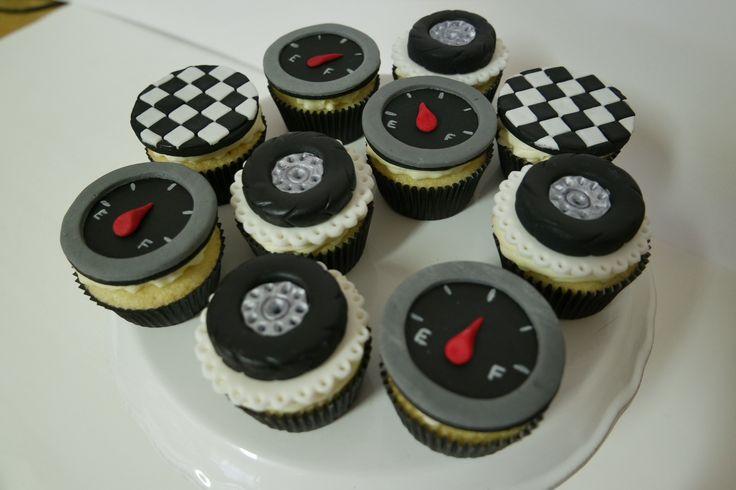 Racing cupcakes; car themed cupcakes