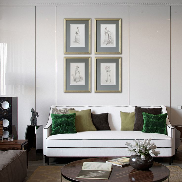 Утонченные наряды английских леди 19-го века - это прекрасный сюжет для декора стен в спальне, гостиной, библиотеке, детской комнате девочки. Перед вами оформленные в золотую раму постеры в стиле ретро.