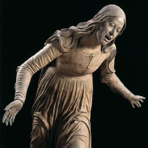 From Lamentation sculpture group, 15th century glazed terracotta, Sant'Anna dei Lombardi, Naples. Sculpted by Guido Mazzoni