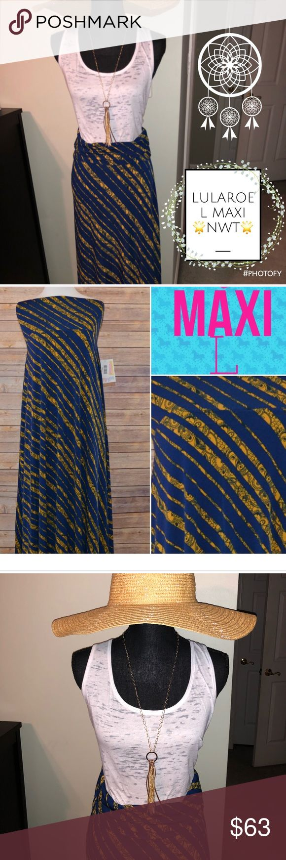 ☀️🆕#Blue #Yellow #Striped #LuLaRoe #Maxi L NWT☀️ Gorgeous double printed slinky navy blue and sunny yellow!   Just beautiful! Seen once and doubt we will see again. Size L (14-16) with some stretch   NWT🌟 Boutique Piece🍾 Handpicked with Love💜 Price Firm- high cost item🍷 LuLaRoe Skirts Maxi