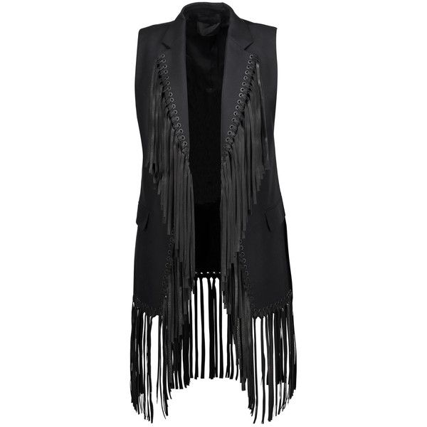 Alexander Wang - Fringed Leather-trimmed Cotton-twill Vest ($418) ❤ liked on Polyvore featuring outerwear, vests, black, sports vest, alexander wang vest, open front vest, sport vest and alexander wang