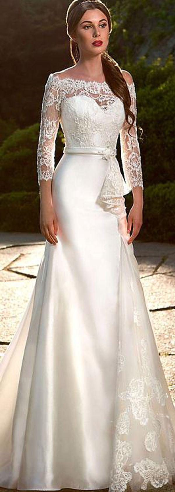 Mermaid Wedding Dresses : Elegant Satin & Tulle & Lace Off-the-Shoulder Neckline Mermaid Wedding Dresses w