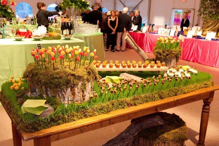 Windows Catering Company provides a nature-themed hors d'oeuvres table with items placed on things from nature including tree trunks