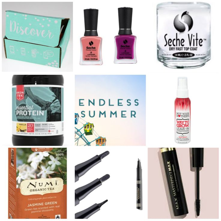 ESVoxBox Endless Summer Influenster | Beauty Tips for Broke Girls | Seche Vite nail polish | Not Your Mother's leave in conditioner | Max Factor Masterpiece mascara and eyeliner | NUMI green jasmin tea | iron tek vanilla protein powder shake | makeup cosmetics beauty hair health food recipe