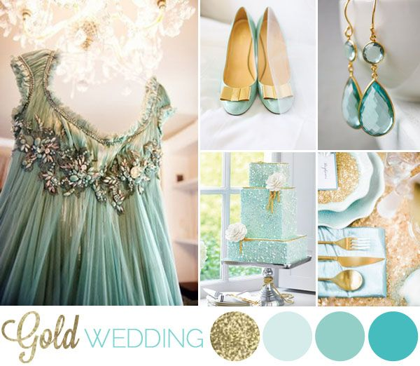 gold + aqua + glitter wedding inspiration board