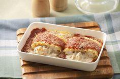 Rollos de lasaña de pollo y queso