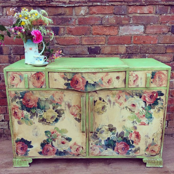 Antibes Green and Old Ochre Chalk Paint TM chest of drawers by Deborah Meredith at Tea & Roses.