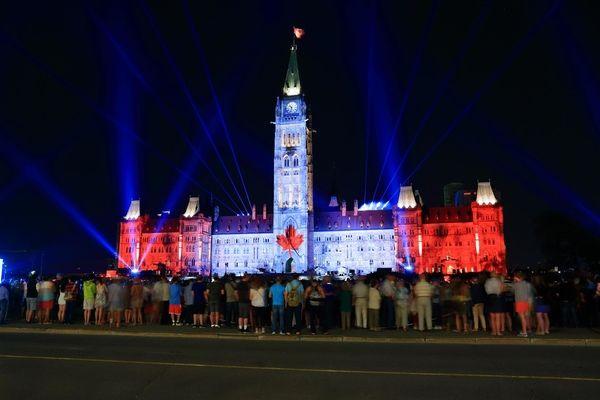 Light show at Parliament Building, Ottawa