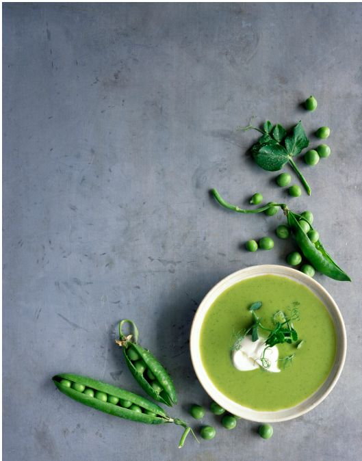 I like this because of the usage of negative space. Also, I really like how the fresh pea pods frame the soup bowl.