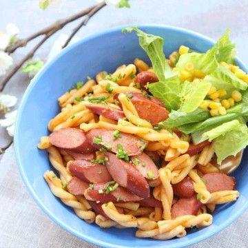 pesto pasta med korv