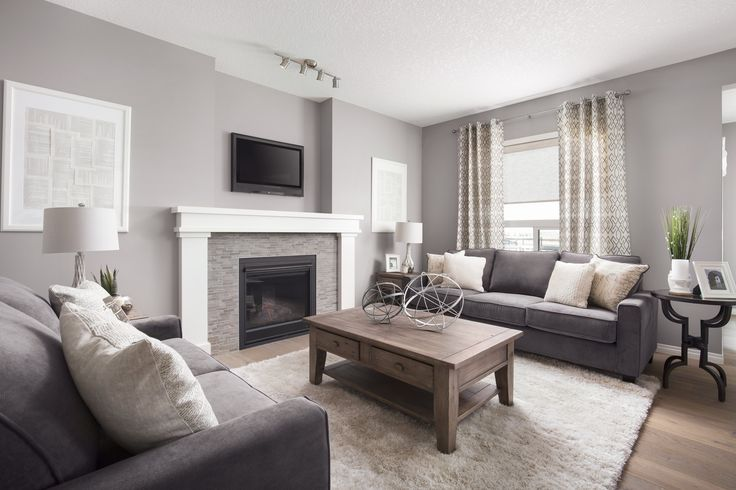 Great room in Shane Homes Tofino II Showhome in Redstone in northeast Calgary   #greatroom #familyroom #livingroom #fireplace #YYC