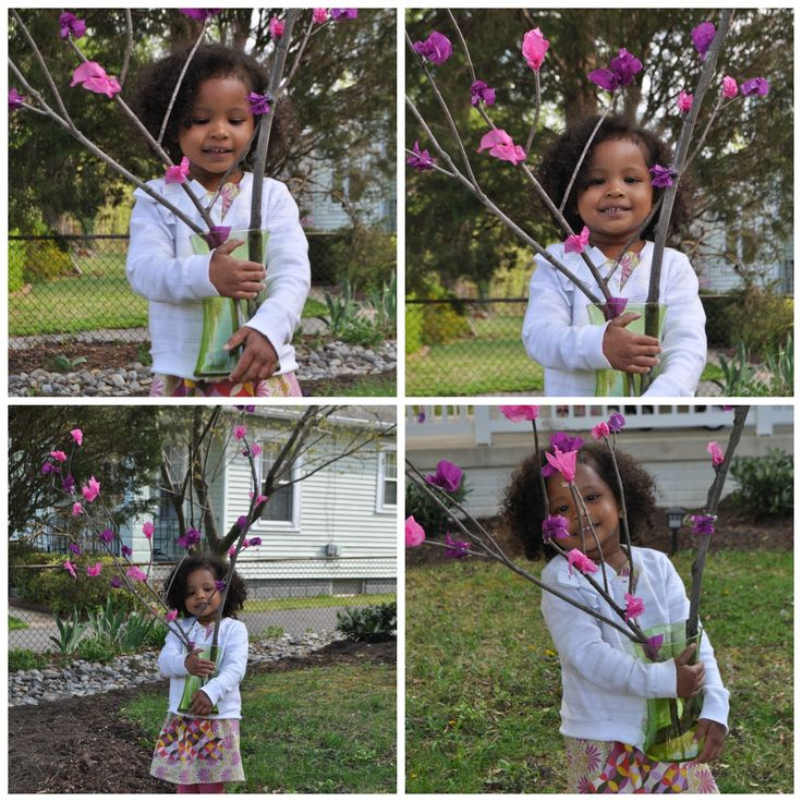 Tissue Paper Blossom Craft--A colleague's four-year-old daughter shows off her lovely handmade blossoms. Well done!: Blossoms Crafts A, Paper Blossoms, Kids Crafts, Blossoms Crafts Someone, Crafts Idea, Crafts A Colleagu, Paper Crafts, Crafts Along Corner, Handmade Blossoms