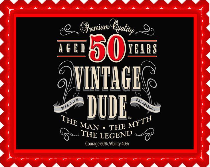 E Cake Image Eci Vintage Dude 50th Edible Birthday