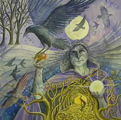 Samhain Crow    Cawing Crows calling,  On gusty Autumn Breeze.  Goddess sent guides  Swirl round leaf-letting trees.  The apple of life  Returned to the Earth,  From darkness to light  And the gift of re-birth.