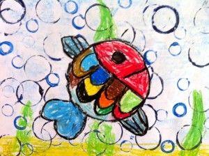 idée pour dessiner des poissons à l'aide d'un gabarit rond